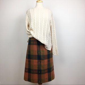 vintage fall earth tones plaid midi pencil skirt